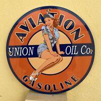 VINTAGE AVIATION GASOLINE PORCELAIN SIGN USA UNION OIL CO PIN UP GAS PUMP PLATE