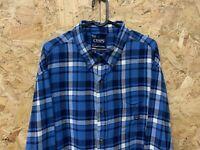 Chaps Ralph Lauren Brushed Flannel Blue Plaid Check Shirt Long Sleeve Size XL