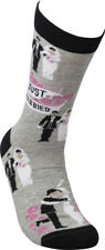 LOL Novelty Socks Just Married Newlywed Bride Groom Cotton Wedding Gray Pink NEW