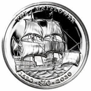 2020 British Virgin Islands Mayflower 400th UHR 2 oz Silver GEM Proof $10 Coin