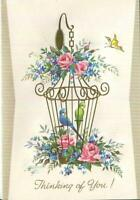 VINTAGE PARAKEET BLUE GREEN BIRDS GOLD CAGE ROSES EMBOSSED CHEER GREETING CARD