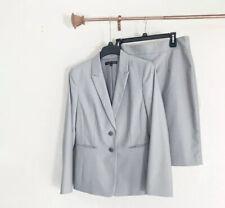 Antonio Melani Gray Striped Jacket Sz. 10 A-line Skirt Sz. 8 Lined Suit Women's