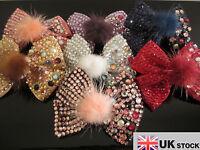 Girl Ladies Fashion Shining New Crystal Rabbit Fur Bow Hair Clip UK SELLER