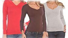 Icon Apparel  Women's V-Neck Long Sleeve Tops - Medium Dark Grey