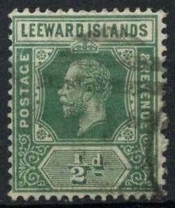 Leeward Islands 1912-22 SG#47a, 1/2d Deep-Green KGV Used #D22471