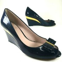 VINCE CAMUTO Varro Wedge Heels Shoes 7.5 M Blue Gold Peep Toe Leather Bow Tie
