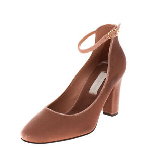 L'AUTRE CHOSE Velour Ankle Strap Court Shoes EU 38 UK 5 US 8 Heel Made in Italy