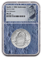 2019 D Apollo 11 50th Commem Clad Half Dollar Ngc Ms70 First Releases Moon Core