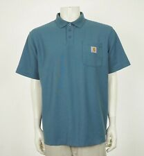 Carhartt Contractor's Work Blue Pocket Pique Polo Shirt Mens Large