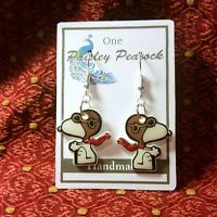 SNOOPY Stud Earrings Flying Ace DangleThe Peanuts CHARLIE BROWN Cartoon