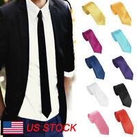 16 Colors Solid Wholesale Lot Men's Classic Tie Silk Necktie Woven  Neck Ties US