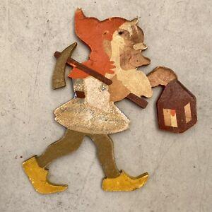 Märchen-Holzbild ALT 1930er 12cm SHABBY CHIC Holland-Zwerg Laubsägearbeit Gnom