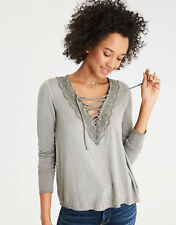 NWT AMERICAN EAGLE Soft & Sexy Floral Lace Up Swing Knit Shirt Top Blouse XXS XS