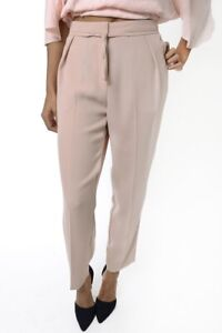 Womens Peach Peg Trousers High Waisted Belted Smart  Ladies Bottoms