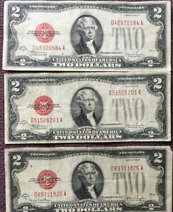 1928-F (2) and G (1)2$ Red Seal Two Dollar Bill Legal Tender Note