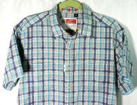 ROBERT GRAHAM Men's Blue Pink Plaid Button Front Short Sleeve Shirt Sz Large L