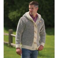 "Hammacher Highland Club Leicestershire Wool Cardigan Sweater Ivory/Black XL 25"""