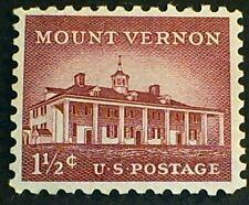 US Scott 1032- 1 1/2c Mount Vernon- Liberty Series, 1956- MNH OG F-VF