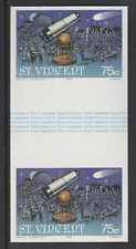 St Vincent 3100 - 1986 HALLEY'S  COMET 75c  IMPERF GUTTER PAIR unmounted