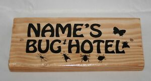 Personalised Name Bug Hotel Any Word Picture Sign Plaque Outdoor Garden Shed Den