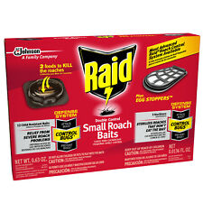 Raid Double Control 12 SMALL ROACH BAITS 3 STERILIZERS EGG STOPPERS COCKROACHES