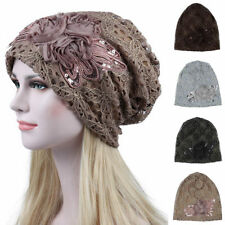 Women's Sequin Lace Butterfly Knot Turban Cap Rose Flower Beanies Hat Headwear