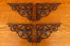 "4 BROWN ANTIQUE-STYLE 9"" STAR SHELF BRACKETS CAST IRON rustic western country"