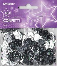 Paquete De 6 cuadragésimo aniversario de confeti / Cuadro De Zarzamora Negro & Plata Decoraciones