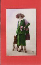 RPPC  Glamorous Lady and dog French Fashion card