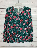Matilda Jane MJ Women's XS Extra Small Green Pink Floral Long Sleeve Top Blouse