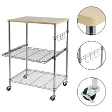 New listing 3-Tier Wire Rolling Kitchen Cart,Food Service Cart,Microwave Stand,Cutting Board