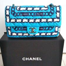 CHANEL Materasse 25 Flap Bag Chain Shoulder Turquoise Blue As1602 Silk Purse