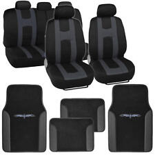 "Seat Cover for Car ""Rome Sport"" Racing Style Stripes Black/Charcoal & Vinyl Mats"