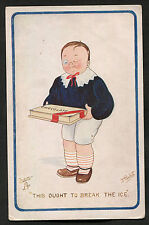 C1920s Comic/Cartoon: Boy with Box of Chocolates: 'This Ought To Break The Ice'