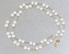 Kette Gold 750 - Halskette in 18 kt Gold mit 48 Süsswasserperlen, Perlenkette