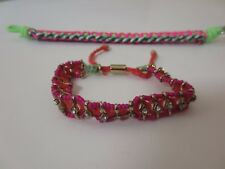 J.Crew Neon Multi Color Woven Silver Hook Friendship Bracelet NWOT $45 Set of 2