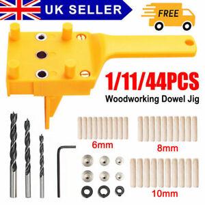 44PCS Woodworking Guide Doweling Jig Drill Kit Wood Dowel Drill Hole Tool