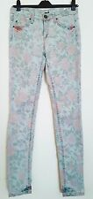 TOPSHOP MOTO SKINNY STRETCH DISTRESSED AQUA JEANS WITH FLORAL PRINT W28 L32 / 10