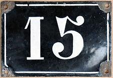 Large old black French house number 15 door gate plate plaque enamel metal sign
