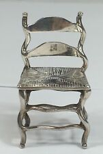 Antique Solid Silver Miniature Novelty Chair- Continental Mark