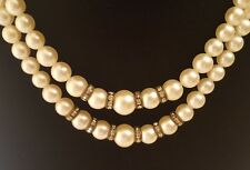 Vintage Laguna Faux Pearl Rhinestone Beads 2 Strand Choker Necklace Excellent