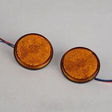 1 Pair Yellow 24LED Motorcycle Round Reflector Tail Brake Turn Signal Light Lamp