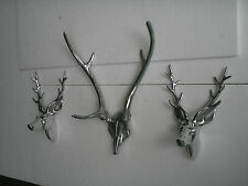 Metal Wall Mounted Stag Head Skull with 2 Small Stag Heads Set of 3 f .