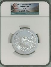 2014 P 25c 5 oz Silver ATB America Beautiful - Shenandoah SP70 NGC