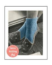 1950s Slipper Sock Vintage Knitting Pattern Copy