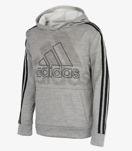 Adidas Big Boys Long Sleeve Logo Hoodie Hooded Pullover Sizes: M, L, XL Grey