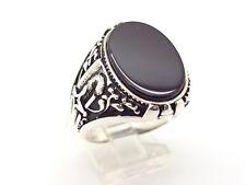 925 STERLING SILVER HANDMADE BLACK ONYX MEN'S TURKISH OTTOMAN DAGGER RING 10.75