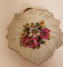 4 Vintage Pink Roses Floral Leaf Shaped Trinket Dishes Japan
