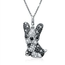 18k white gold made with swarovski cz Boston terrier dog puppy pendant necklace