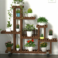 Multi Tiers Wood Flower Plant Stand 9-17 Pots Shelf Rack Garden Patio w/ Tools